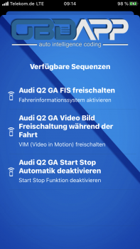 Audi Q2 GA Video in Motion (VIM) freischalten